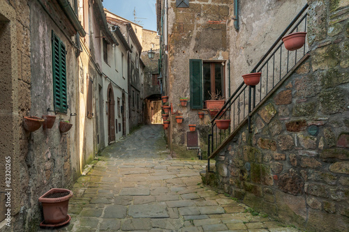 Fototapety, obrazy: Solar ancient town and the streets of the beautiful Tuscany, Ita