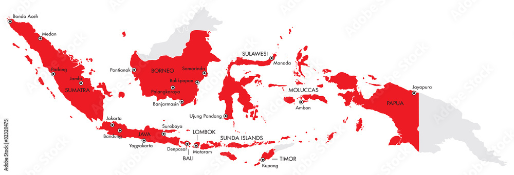 Photo Art Print Map Of Indonesia With Provinces And Cities