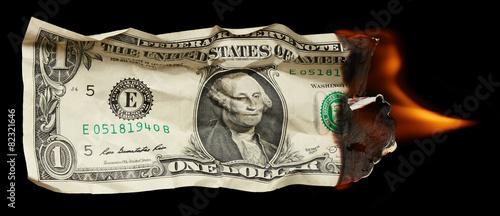 Burning dollar Canvas Print