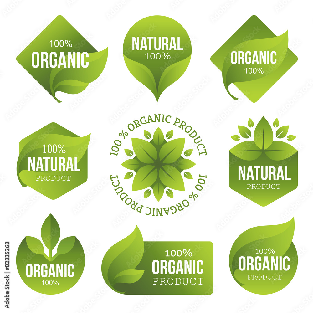 Fototapety, obrazy: Green Organic Products Labels