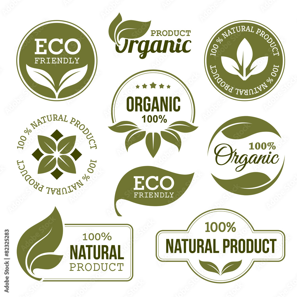 Fototapeta Green Organic Products Labels