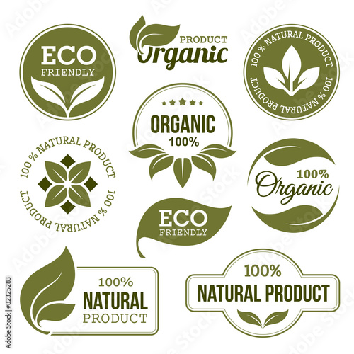 Fototapeta Green Organic Products Labels obraz