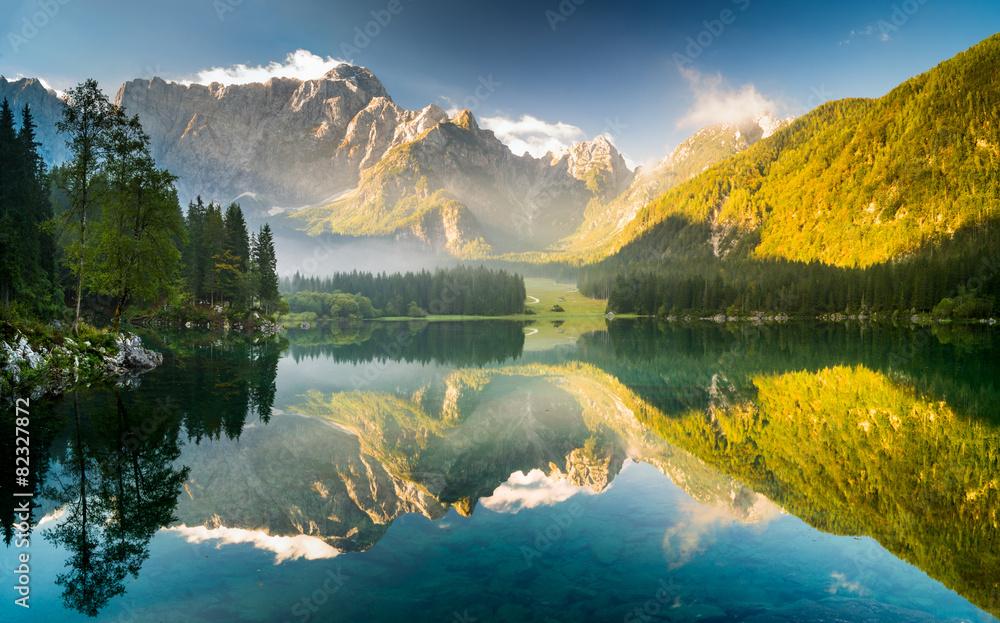 Fototapety, obrazy: jezioro górskie w Alpach Julijskich,Laghi di Fusine