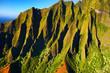 Aerial view of spectacular Na Pali coast, Kauai