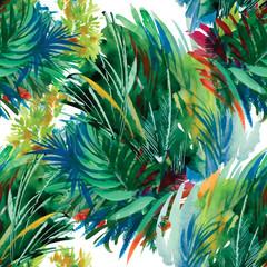 Fototapeta Natura Watercolor seamless pattern with grass. Hand painting.