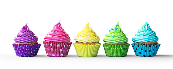 Fototapeta Do cukierni Colorful cupcakes on white