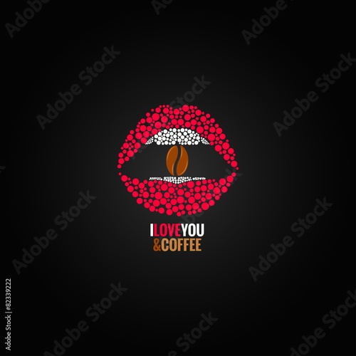 Coffee Bean Lips Concept Design Background Buy This Stock Vector