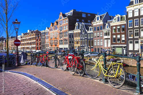 Photo Stands Amsterdam charming Amsterdam. canals and bikes