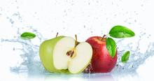Fresh Apples With Water Splash