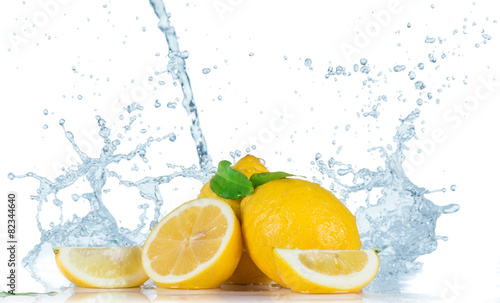 Poster Eclaboussures d eau Fruit with water splash