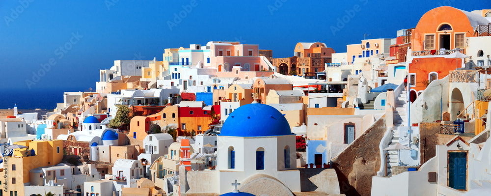 Fototapety, obrazy: Panorama of famous greece city Oia. Santorini island