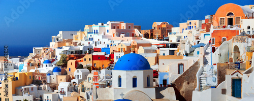 Fototapeta  Panorama of famous greece city Oia. Santorini island