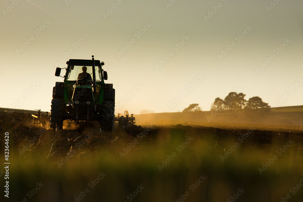 Plakat Tractor in sunset plowing the field