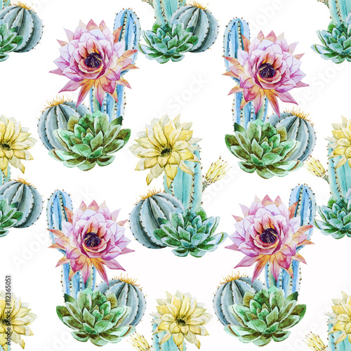 Cotton fabric Watercolor cactus pattern