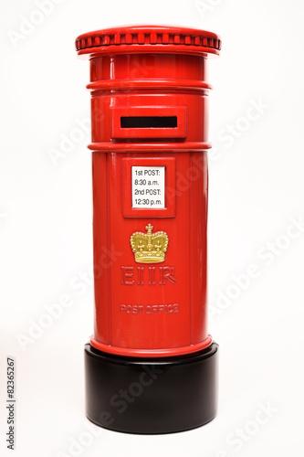 Fototapeta London postbox isolated on white background