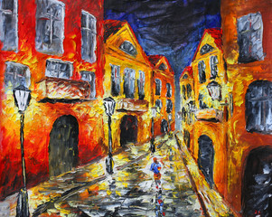 Fototapeta Miasto nocą Original oil painting. Lonely rainy night street