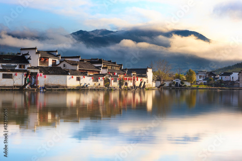 Chinese ancient village - Hongcun in mist
