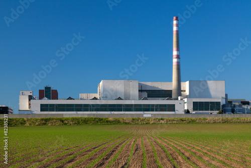 Staande foto Industrial geb. Industrial power plant, blue sky