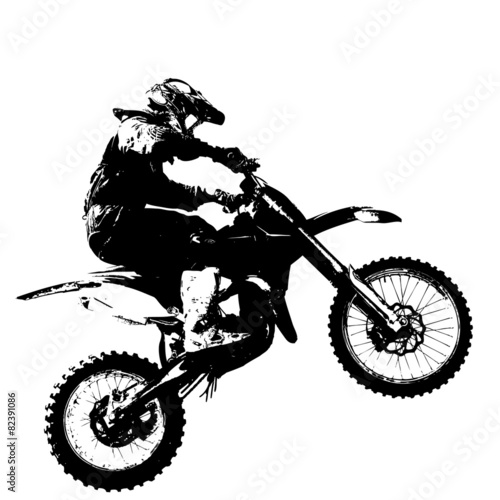 Photo  Rider participates motocross championship.  Vector illustration.