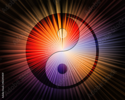 Fotografie, Obraz  Yin yang symbol with abstract background