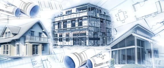 Nowe budynki z muszlą i planami budowlanymi