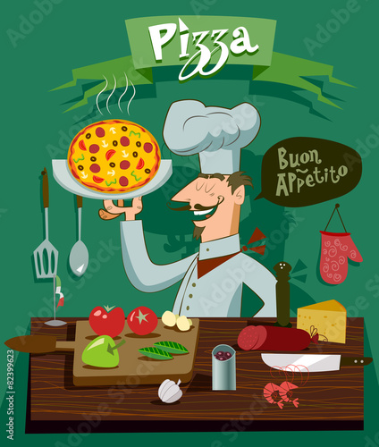 Cook in the kitchen preparing a pizza. A set of ingredients for Wall mural