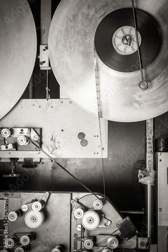 Deurstickers Retro Rare industrial cinema 35mm movie printer detail vintage black a