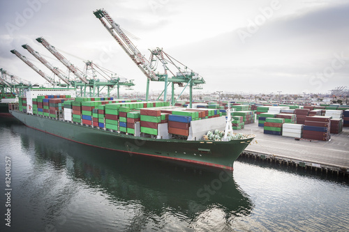 Fotografie, Obraz  Loď kotví v přístavu San Pedro, Kalifornie, USA