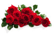 canvas print picture - Red roses with green leaves