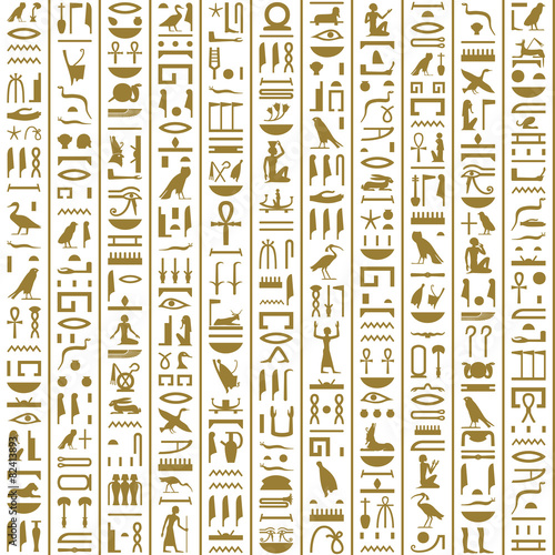 Ancient Egyptian Hieroglyphs Seamless Wallpaper Mural