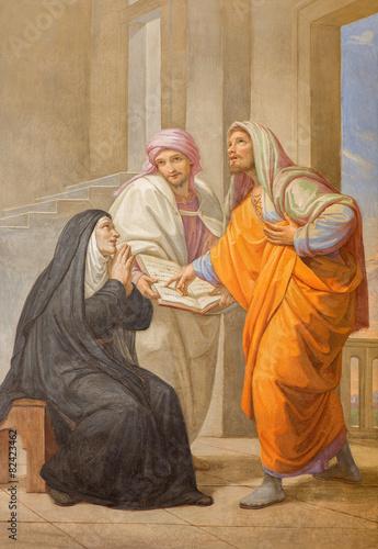 Fototapeta Rome - fresco of st. Augustine and his mother st. Monica