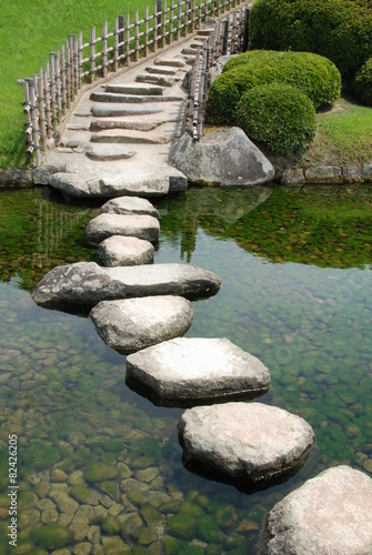 Bridge made of stones in a Japanese garden Poster