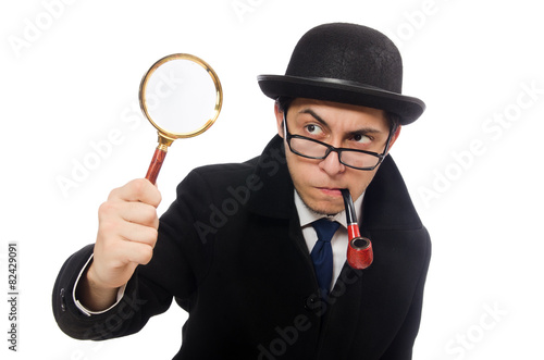 Sherlock Holmes with magnifying glass isolated on white Wallpaper Mural