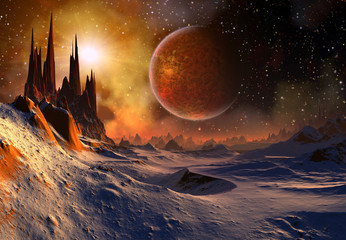 Fototapeta Kosmos Alien Planet - 3D Rendered Computer Artwork