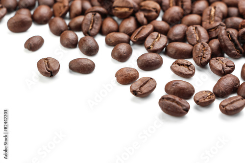Deurstickers koffiebar Coffe Beans Isolated On White