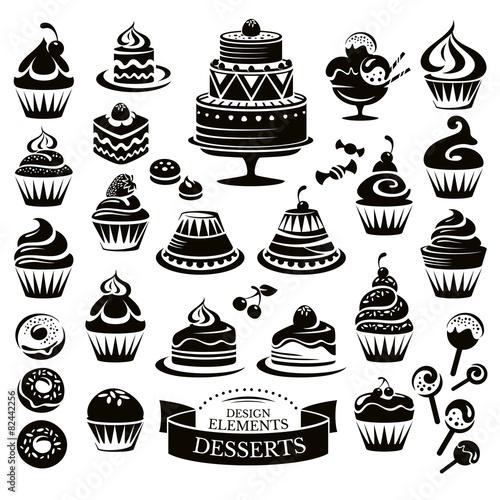 Photo  Set of desserts design elements