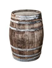 Vintage Oak Cask Isolated On W...