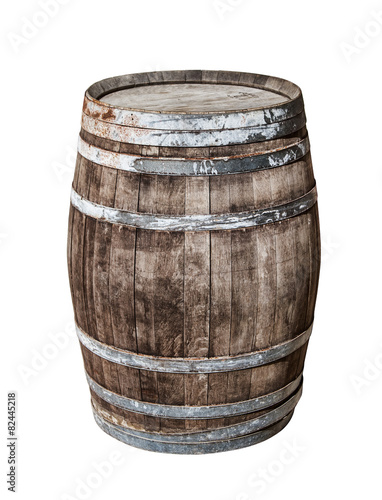 Canvas-taulu Vintage oak cask isolated on white background.