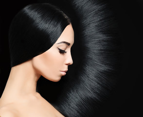 Woman with black Hair. Fashion Hairstyle