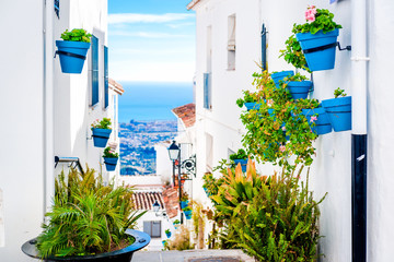 Picturesque street of Mijas. Andalusia. Spain