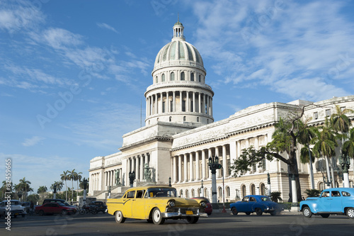 Photo  Havana Cuba Capitolio Building with Cars