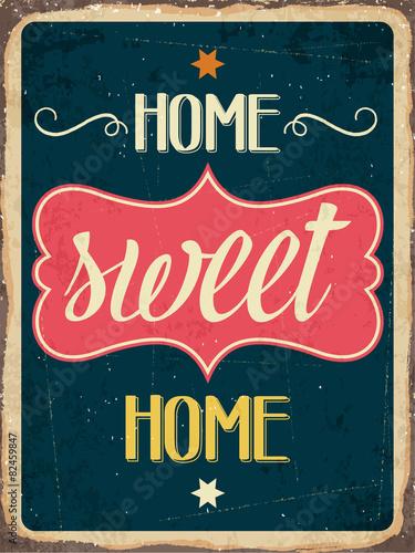 """Retro metalowy znak """"Home sweet home"""""""