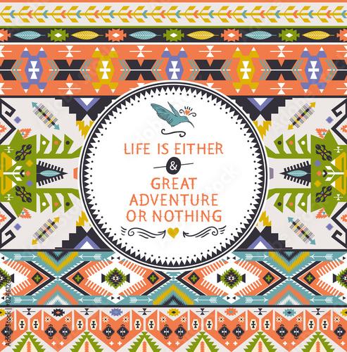 Fényképezés  Seamless bright pattern in navajo style