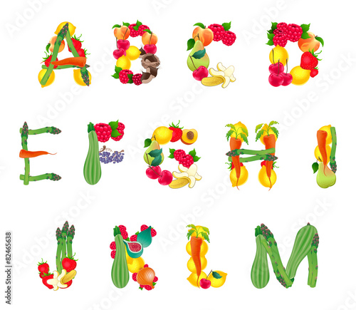Poster Chambre d enfant Alphabet composed by fruits and vegetables, first part