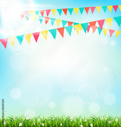 Fotografía  Celebration background with buntings grass and sunlight on sky b