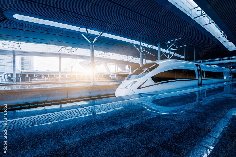 Fototapeta speeding train - obraz na płótnie