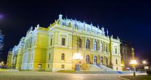 Illuminated Building Of Rudolfinum Concert Hall In Prague.
