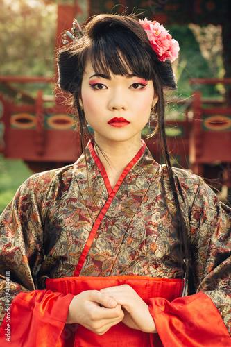 Portaite of beautiful asian woman in kimono Fototapet