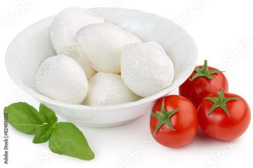 Fotografie, Obraz  mozzarella, cherry tomatoes and basil