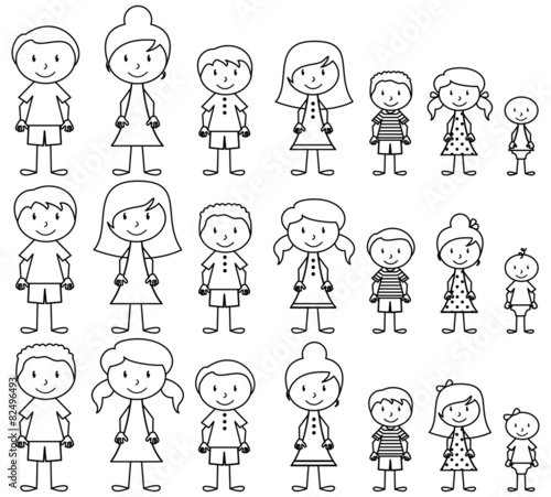 Set of Cute and Diverse Stick People in Vector Format Wallpaper Mural